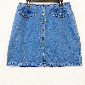 Eddie Bauer Jean Mini Skirt Button Front Size 16